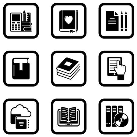 book concept: set of nine black book concept icons