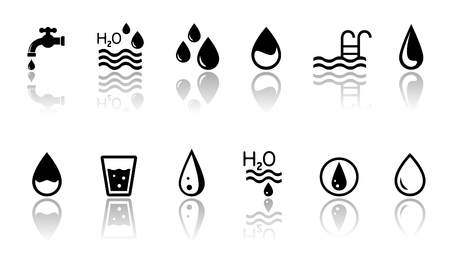 drinkable: black water concept symbols set with mirror reflection