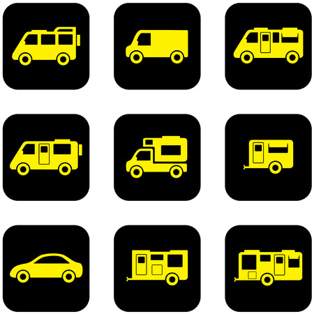 coupling: yellow camper transport set on black icons Illustration
