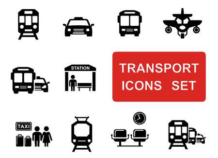 ensemble de noir sociaux icônes de transport urbain