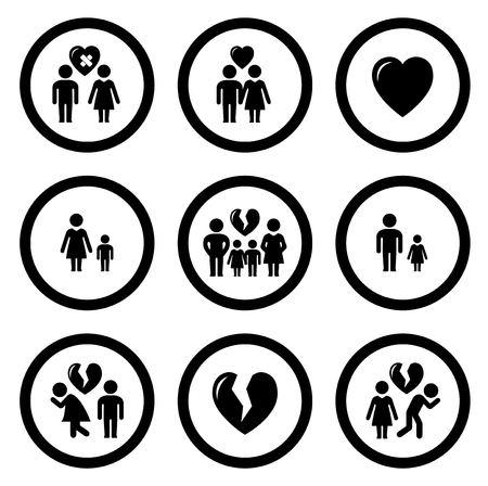 jealousy: set of round isolated family situation concept symbols Illustration