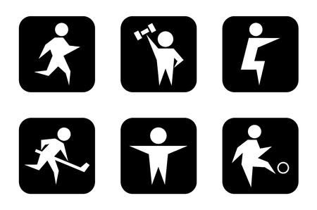 tightening: set of concept isolated black sports symbols