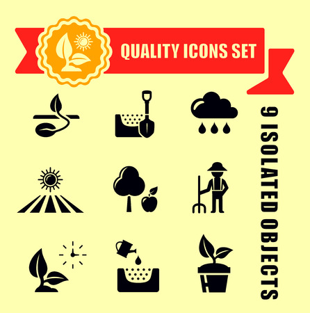 grain fields: quality agriculture icons set with red tape accent