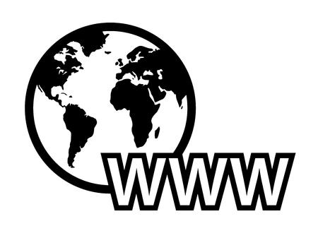 isoliertes schwarzes Konzept globales Internet-Symbol mit Erdkarte