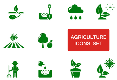 accent: set of green agriculture icon with red accent