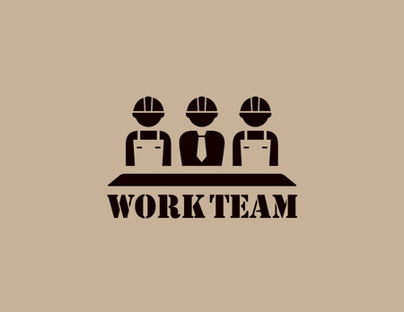 workteam: industrial icon with business work team silhouette Illustration