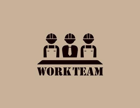 Industrie-Symbol mit Team Silhouette business work