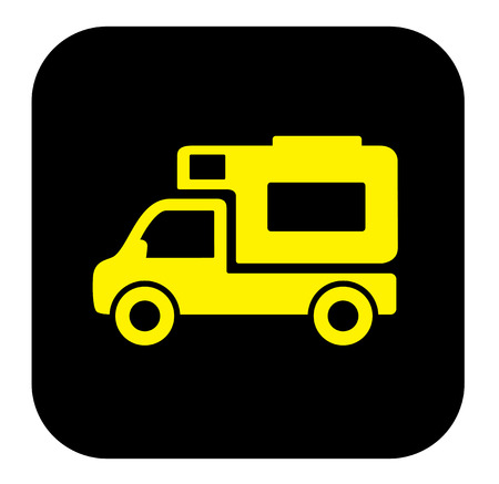 camper trailer: yellow camper trailer icon on black background