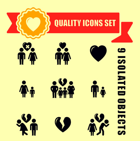 red tape: family concept quality icon set with red tape accent