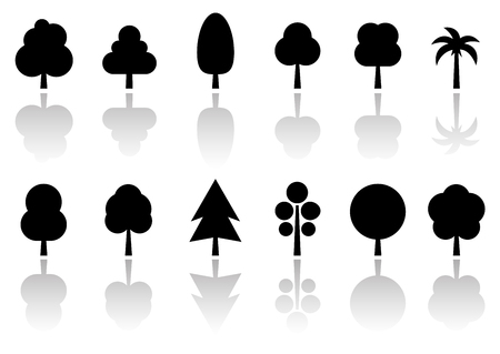 reflection mirror: isolated black tree set with mirror reflection silhouette Illustration