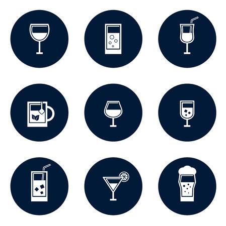 aeration: set of blue isolated round glasses icons