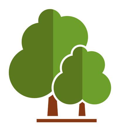 summer tree icon for parkland or garden symbol Illustration