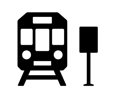 goods station: isolated black icon with train and station sign silhouette
