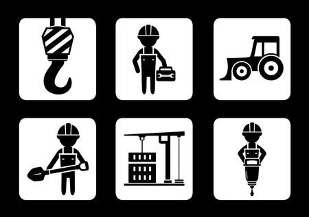perforator: set of builder and construction equipment icons on black background Illustration