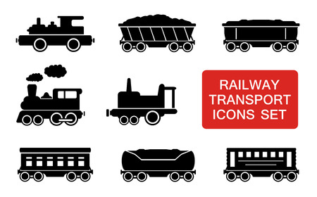 railway transport: set of railway transport icons with red signboard