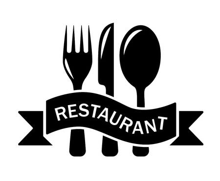 bar ware: isolated restaurant black symbol with tape and kitchen utensil
