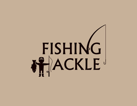 fishing tackle: fishing tackle background with fishing rod and fisherman silhouette Illustration