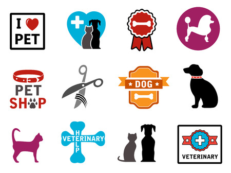 colorful veterinary icons with pet and concept symbols Illustration