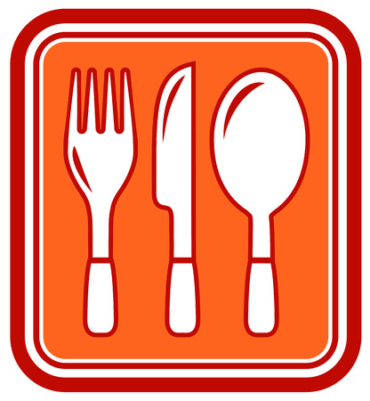 fork knife: yellow restaurant icon with fork, knife, spoon silhouette