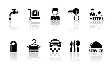 reflection mirror: set of hotel concept icons with mirror reflection