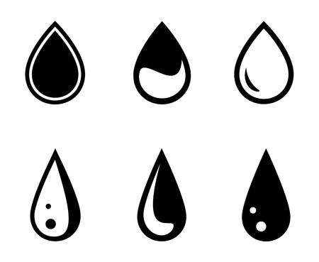 drinkable: isolated black water drops set on white background Illustration