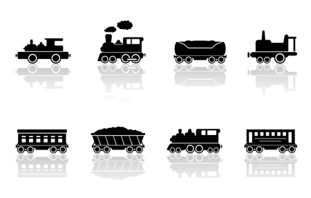reflection mirror: trains and railroad wagons set with mirror reflection silhouette Illustration