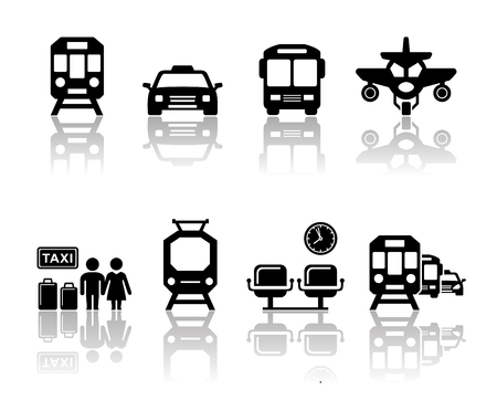 reflection mirror: transport icons set with mirror reflection silhouette
