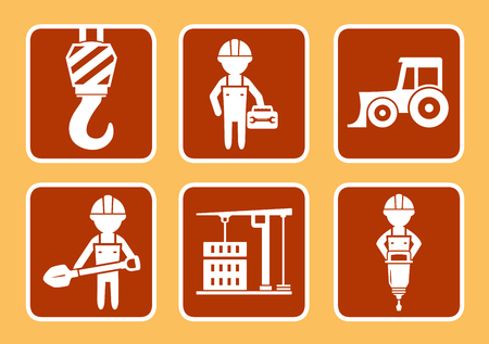 construction equipment: set icons with builder with construction equipment