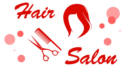 red hair salon signboard with wig silhouette Illustration