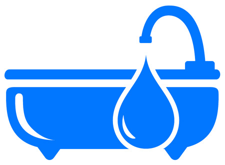 leakage: blue bathroom concept symbol with drop silhouette