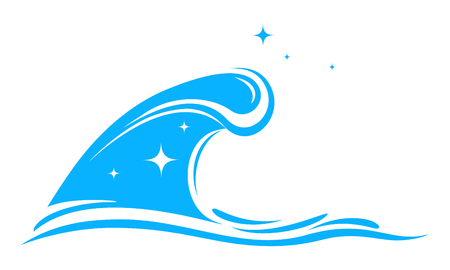 spindrift: isolated blue big wave silhouette on white background