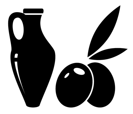 isolated concept symbol with jar of olive oil