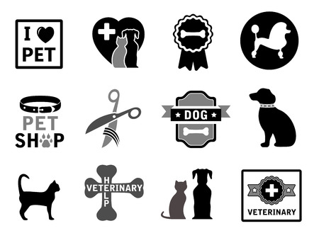 by the collar: set of isolated veterinary concept icons on white background