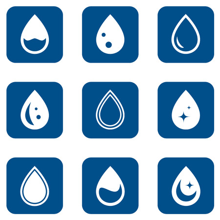 drinkable: set of blue icons with droplet with silhouette Illustration