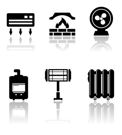 reflection mirror: set of heating and cooling icons with mirror reflection Illustration