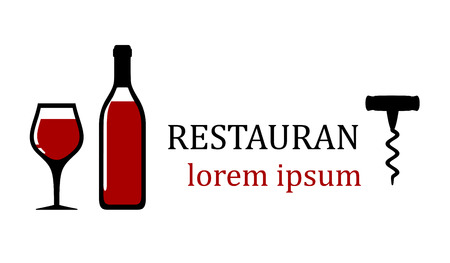wedding reception decoration: bottle with red wine for restaurant signboard or emblem Stock Photo