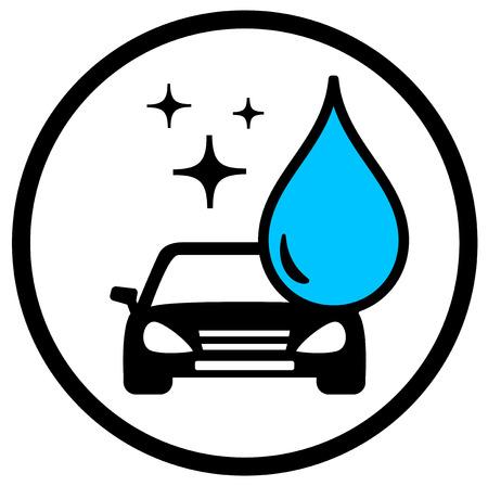 wash: redondo símbolo de lavado de coches con el coche y azul caída