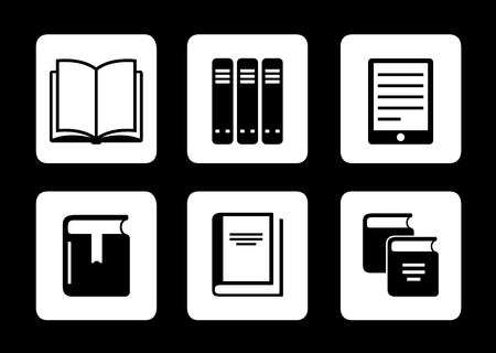 news reader: set of book icons on black background