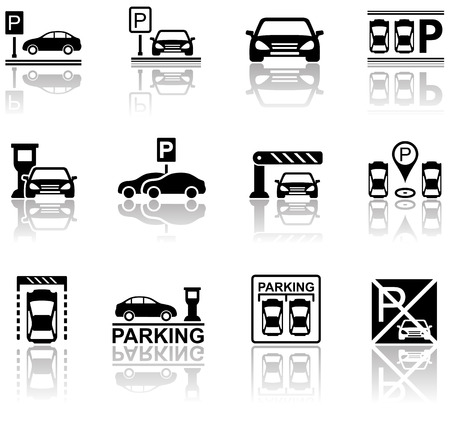 set of parking icons with mirror reflection