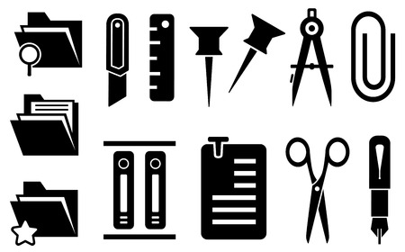 set of black stationery tools isolated icons