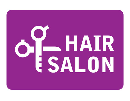 snip: pink hair salon icon with scissors white silhouette