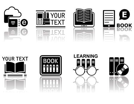 book concept: book concept symbols with mirror reflection silhouette
