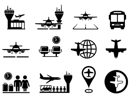 set of black airport with plane icons