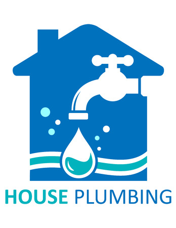 tap room: blue house plumbing concept symbol for pure water for home