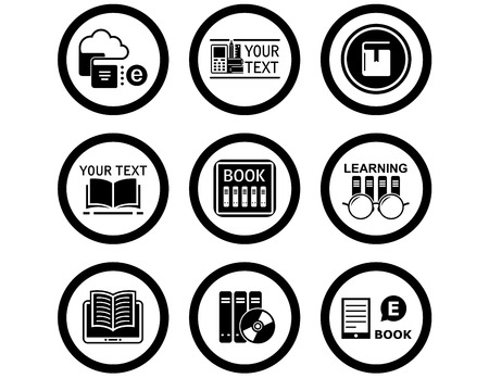 book concept: set of black isolated book concept icons