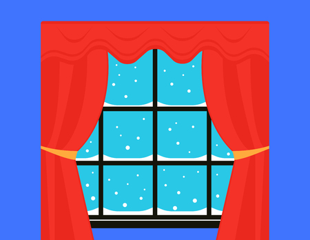 window with red curtain and snowstorm outdoor. snow on winter window with red velvet neatly knotted curtain Illustration