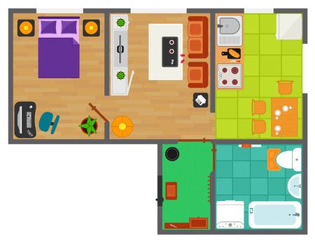 overhead view: detailed apartment furniture overhead top view. apartment plan with furnishing element set.