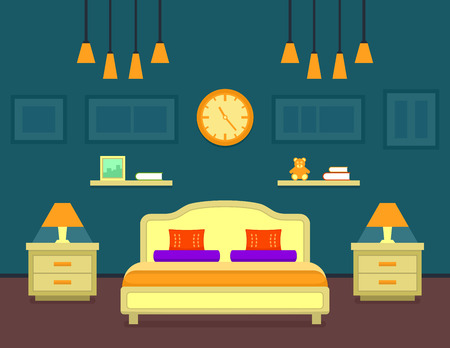 bedroom bed: bedroom cozy interior. family room interior with bed and furniture for bedroom. Illustration