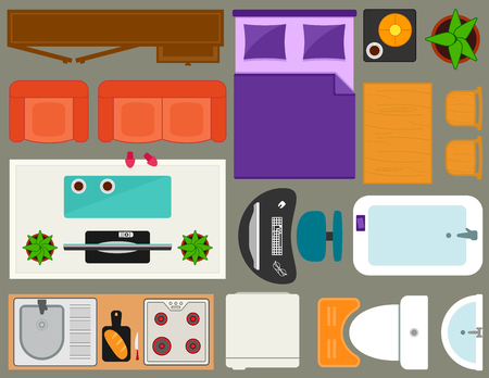 overhead view: apartment furniture set overhead top view. set of isolated furnishing object for room interior in home.