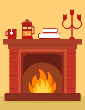 cartoon fireplace: cozy fireplace on room. cartoon red brick fireplace on home with burning fire.